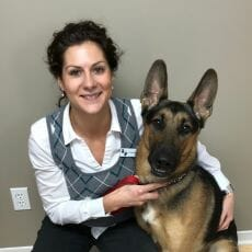 Dr. Venessa Bosse with a dog